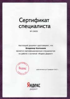 Сертификат Яндекс Диренкт