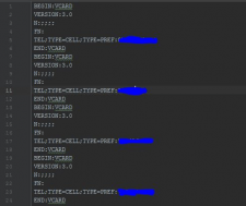 Запись мобильных номеров csv → vcf