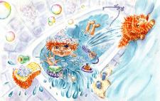 Акварельная иллюстрация к детскому стихотворению