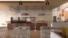 Дизайн интерьера кафе. Ракурс 1.