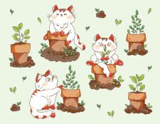"""Векторный набор иллюстраций """"Кот и растения"""""""
