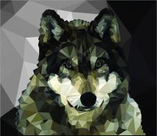 Волк полигональная графика