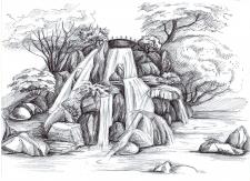 Эскиз водопада