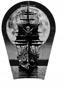 Татуировка корабля под икроножную часть
