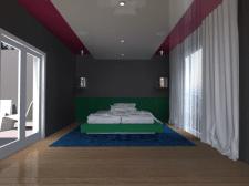 Интерьер комнаты для гостей, у бассейна.