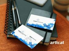 Бело-голубая визитка