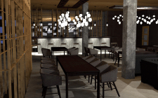 Интерьер ресторана на 100 мест.
