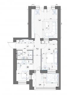 Проектировка квартиры с мебелью