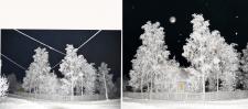 Зимняя ночь в деревне Боброво.