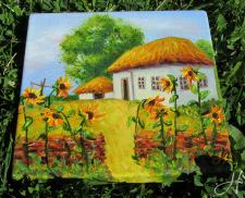 """Картина маслом """"Украинская хата"""""""