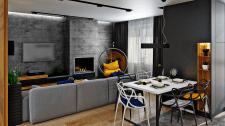 Гостиная с камином в стиле Контемпорари