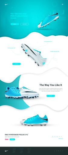 Верстка лендинга обуви Nike