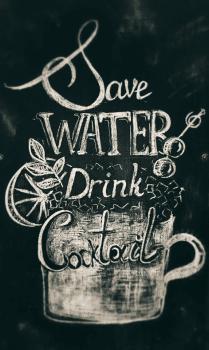 Сохрани воду. Оформление меловой вывески