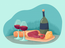 Wine food vector illustration for restaurant menu