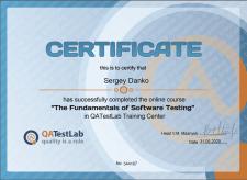 Сертификат по курсу «Основы тестирования ПО»
