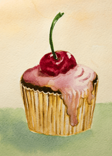Рисунок кекса с вишней, акварель
