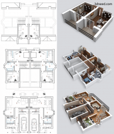 3d планировка жилого дома