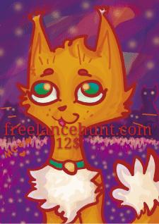 """Fluffy cat in a purple world"""