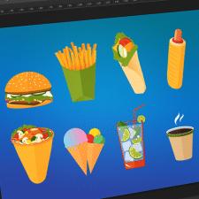 Иллюстрации еды для последующей печати на фудтрак