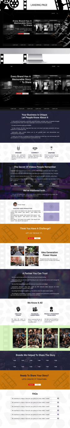 Landing Page for video production