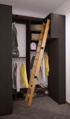 Визуализация шкафа с наполнением  замена цвета