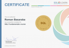 Sertifcate of SQL course