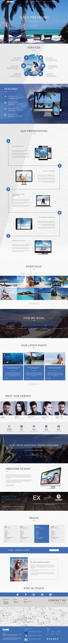 OKIWI - одностраничный блог сайт