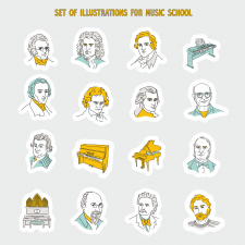 Set of illustrations for music school