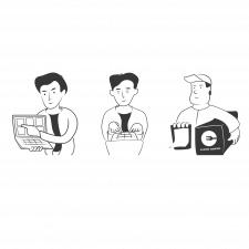 Векторные иконки с персонажами