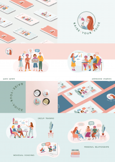Логотип и иллюстрации для проекта Raise your Voice