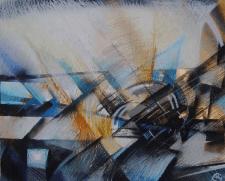 Электронный рассвет,картон, авторская техника,2010