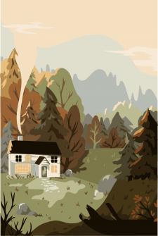 Vector illustration Forest House