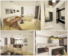 Дизайн гостинной объединенной с кухней