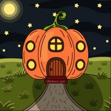 Pumpkin house cartoon illustration