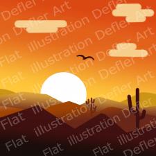 Векторная иллюстрация-Закат в Аризоне
