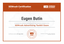 SEMrush Advertising Toolkit Certificate
