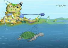 Мусорный монстр в океане