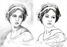 векторная отрисовка карандашного рисунка