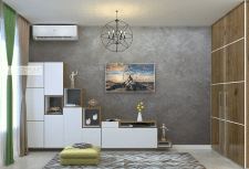 Кухня-студия стенка ТВ с полкой