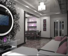 Дизайн зала совмещённый со столовой зоной