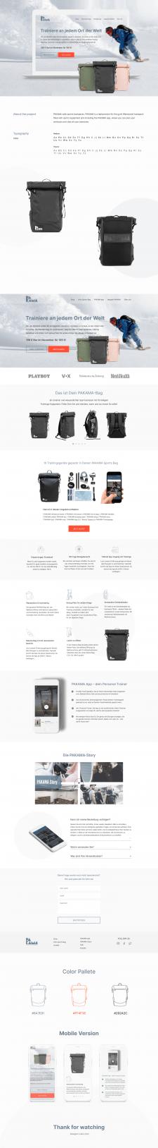 Дизайн лендинга спортивных рюкзаков