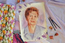 Портрет. Техника акварель, цветные карандаши