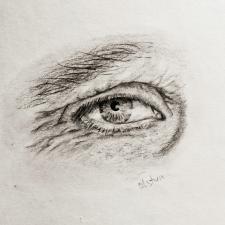 Глаз старый, карандаш.