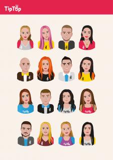аватарки для сотрудников компании TipTop