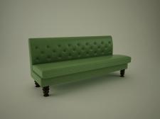 3Д диван кожаный зеленый.