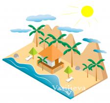 Иллюстрация моря и пляжа