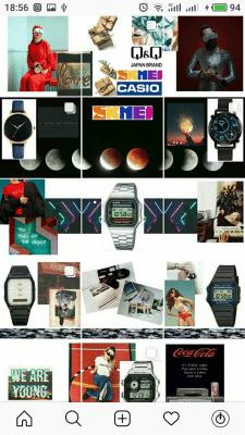 Оформление плитки Instagram для магазина часов