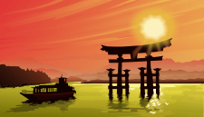 захід сонця, Японія