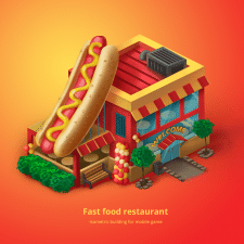 Fastfood restaurant for mobile city builder
