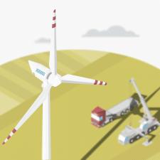 Ветряная турбина - изометрическая иллюстрация